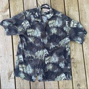 Tommy Bahama gray green silk button shirt M